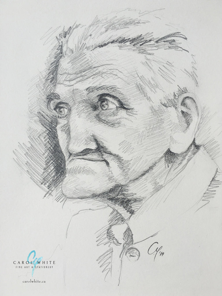 pencil sketch of elderly man