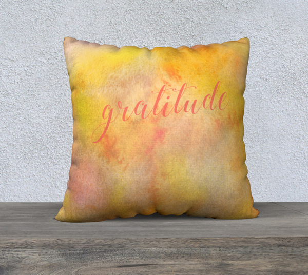 "Gratitude Pillowcase – 22"" x 22"""