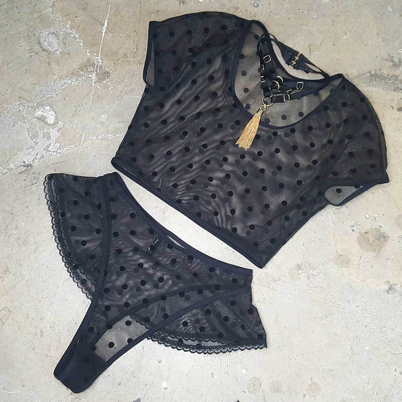 Cloé crop top - black mesh with black polkadots