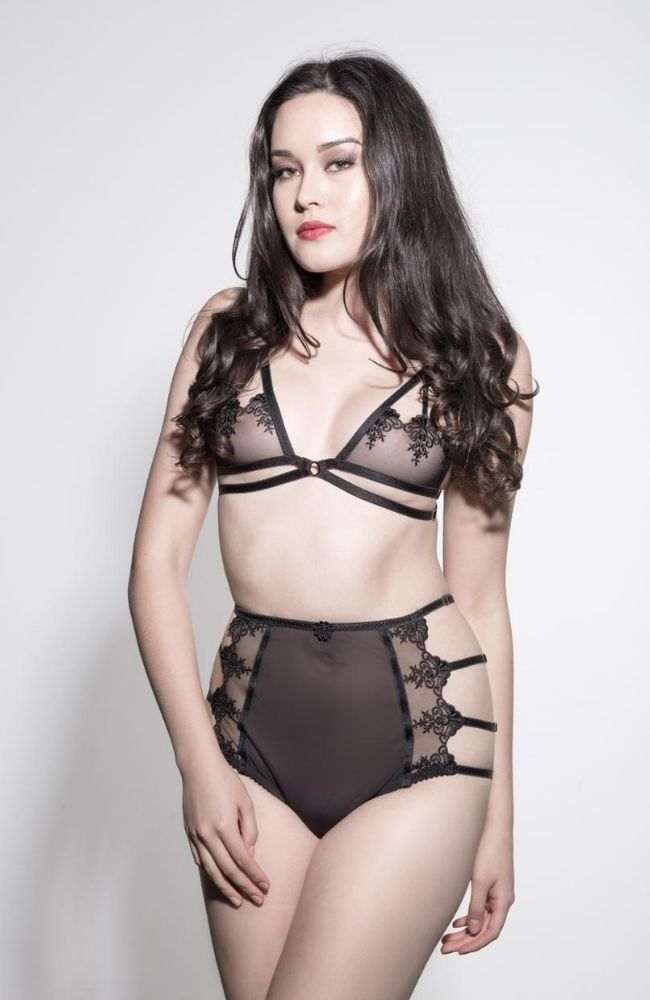 High Waist Knickers with lace panels and adjustable satin strapping.