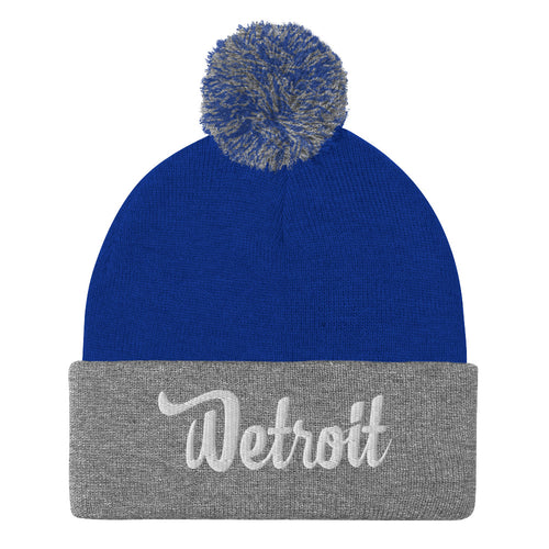 Pom-Pom Beanie Royal/Heather Grey