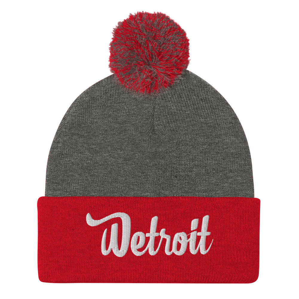 Pom-Pom Beanie Dark Heather Grey/Red