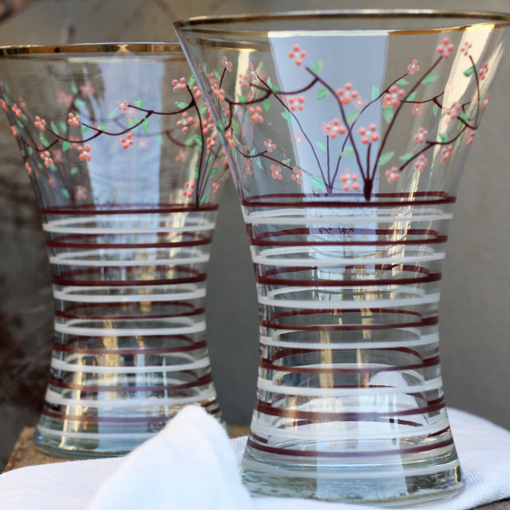Pair Vintage Handmade Hand Decorated Glass Vases