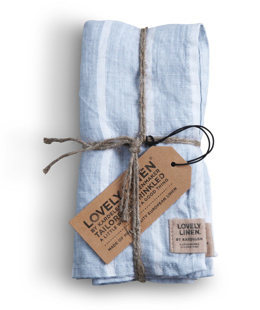 Misty Stripe & Chambray Linen Napkins (set of 4)