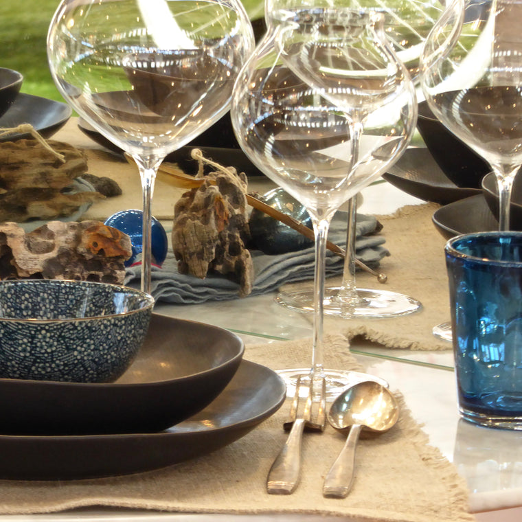 Christmas table with Magma handmade dinnerware