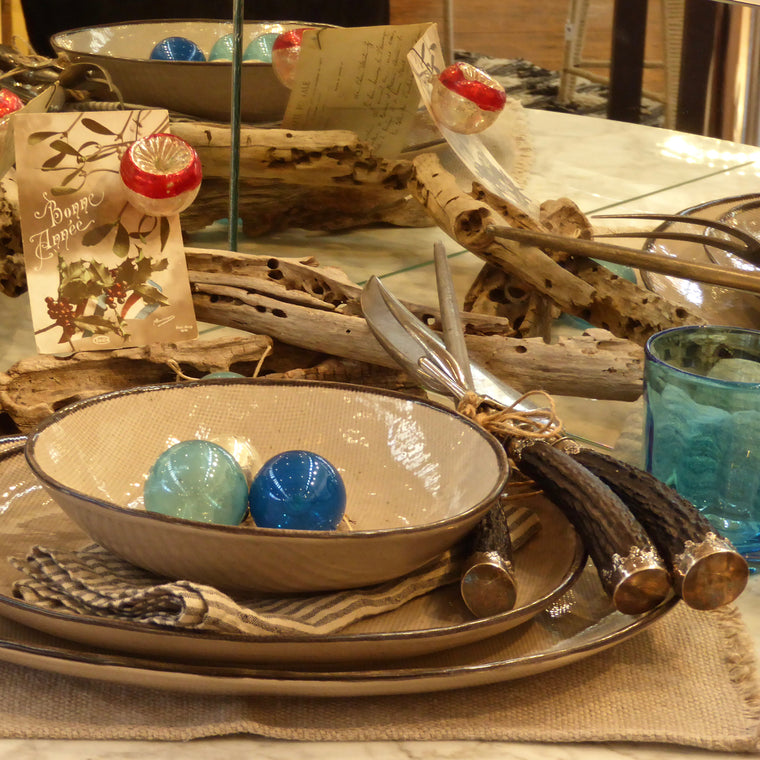 Christmas table with Juta handmade dinnerware