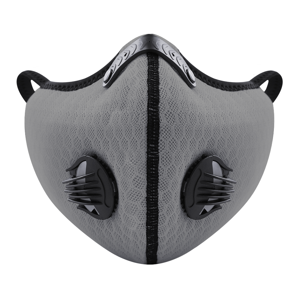 Grey protective Face Mask with carbon filter, mesh fabric