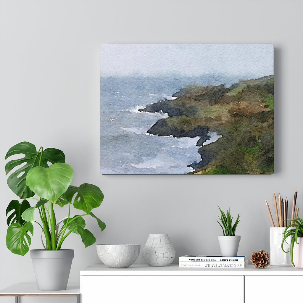 Seaside Blue Landscape Canvas Gallery Wrap