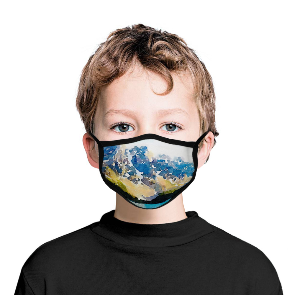 CHILD Size Face Masks - Mountains, TEN PEAKS Painting