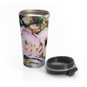 Peony Floral Stainless Steel Travel Mug - flowers tea coffee nature pink bridal