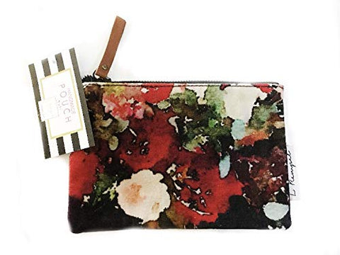L Rempel Art Foxglove Small Zippered Pouch - Cosmetic Bag, Toiletry Bag & Multi Use Pouch | Functional Watercolor Art