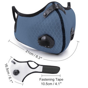 Grey/blue Protective Mask with carbon filter, mesh fabric