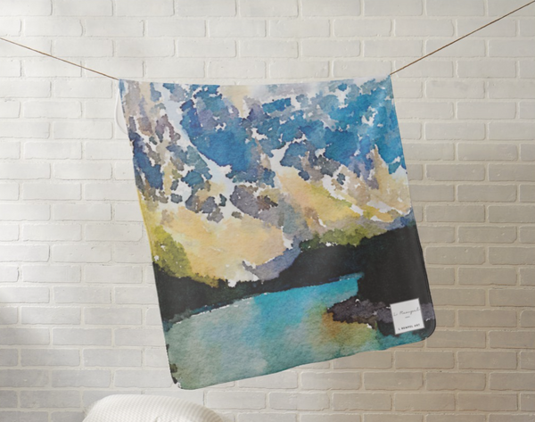 TEN PEAKS (Banff) Watercolour Baby Blanket