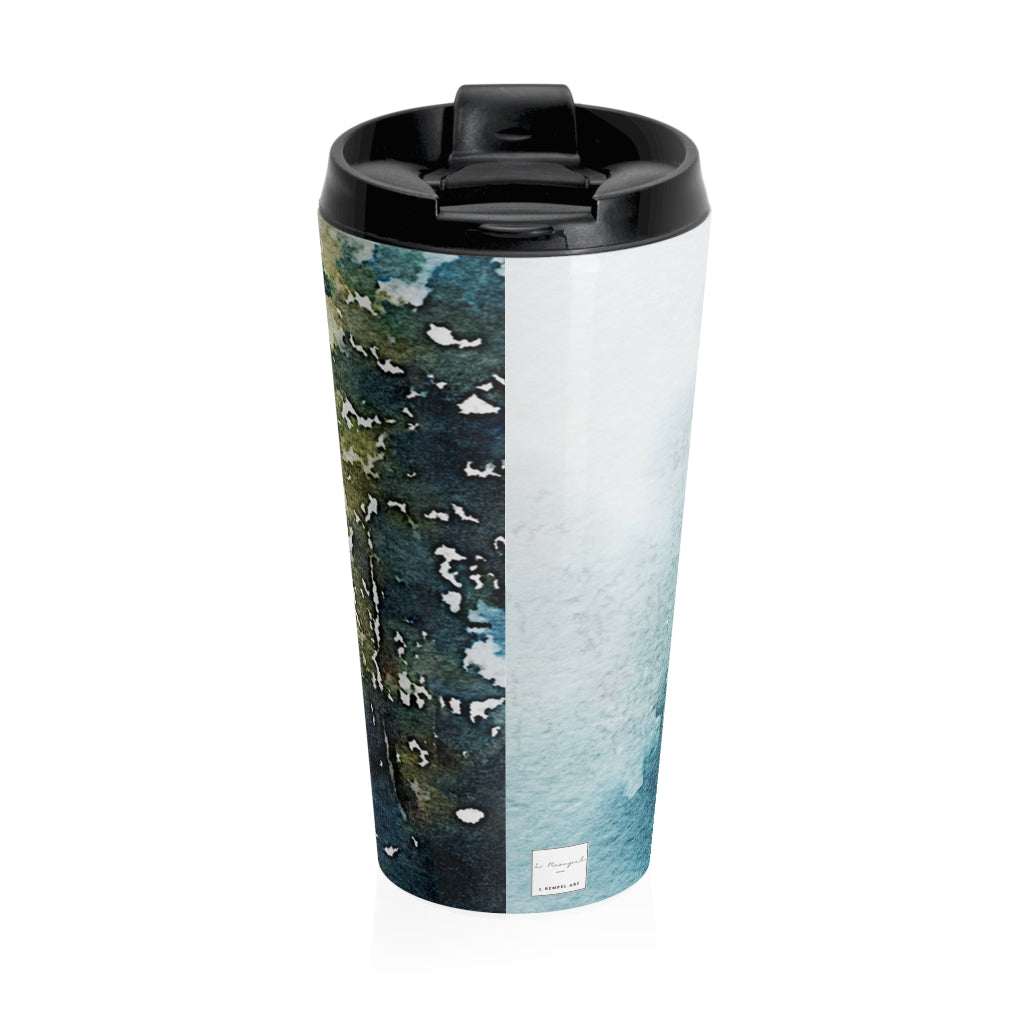 Kananaskas Blue Trees Lake -Stainless Steel Travel Mug Painting coffee travel