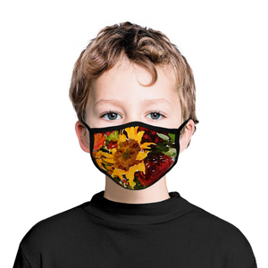 CHILD Size Face Masks - Yellow Sunflower & Red Roses Painting