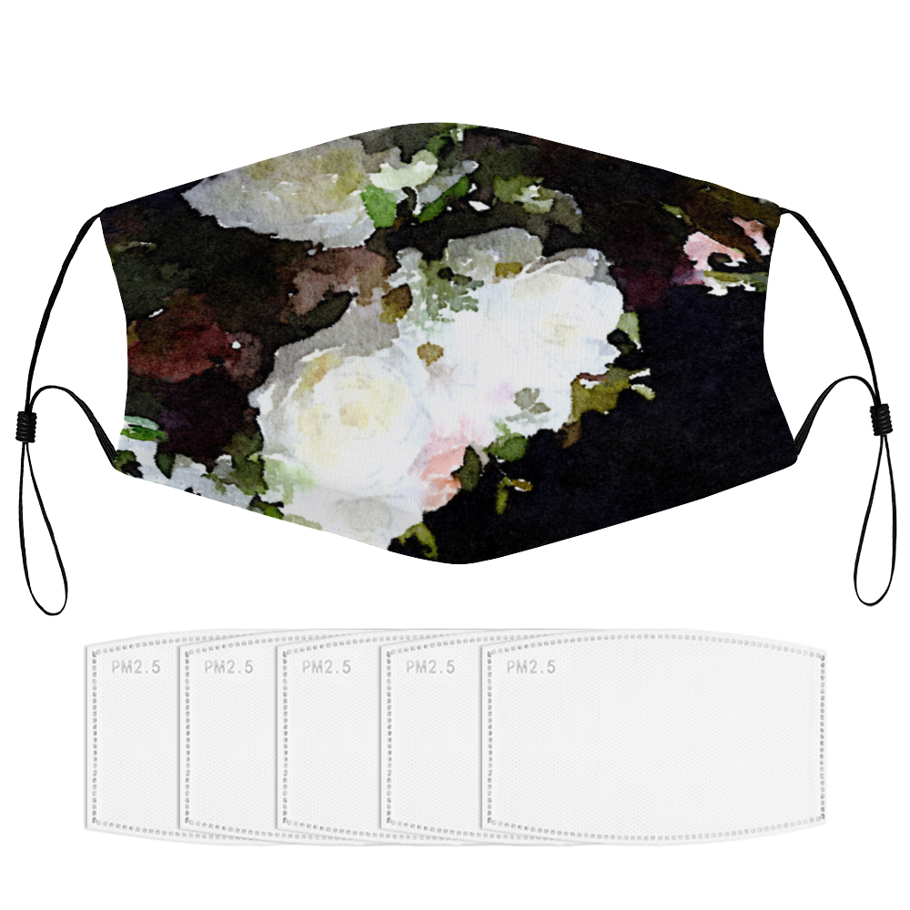 Black and White Floral - Face Masks Dust Mask with Filter Element, Multiple Spare Filter Cartridges