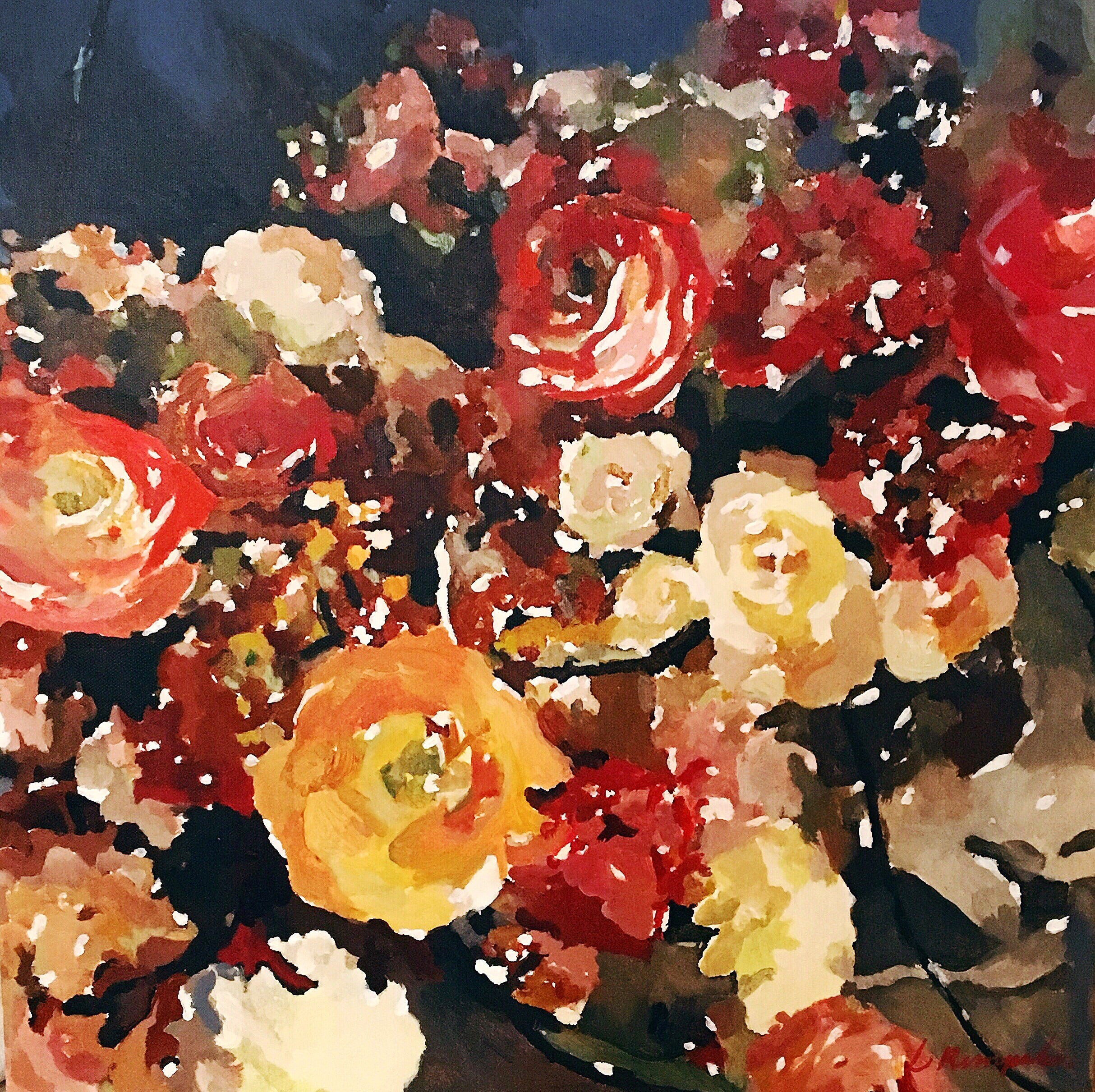 """Saying Grace"" Painting - 16""x16"" Floral"