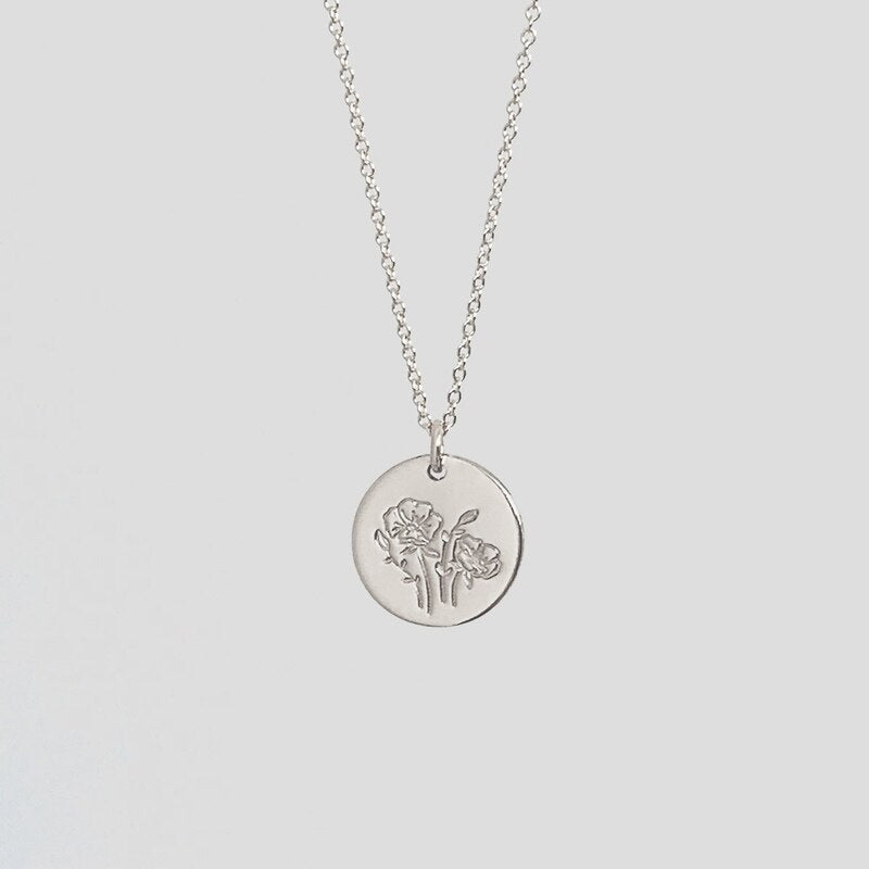 Delicate Birth Flowers Necklace Carnation Rose Charms Layering Necklace Mother Daughter Necklace Women Jewelry Gift