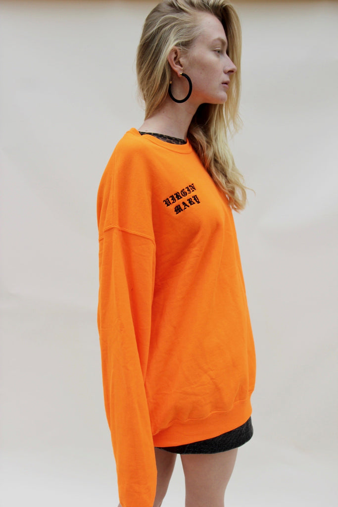 VIRGIN MARY NEON FIRE SWEATSHIRT
