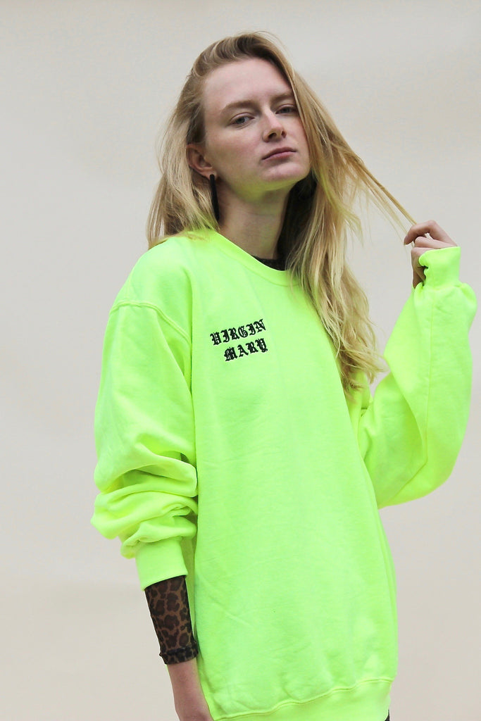 NEON YELLOW VIRGIN MARY SWEATSHIRT