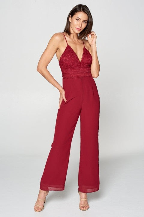 Regina Plum Sleeveless Lace Top Jumpsuit