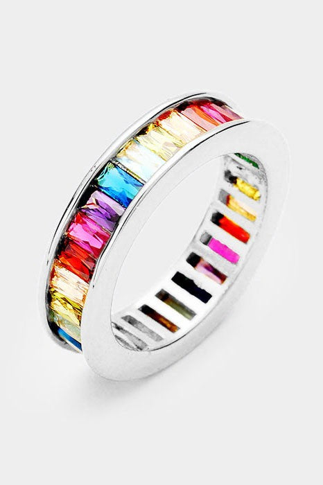 Colorful Rainbow CZ Ring Rhodium Plated, All Rings - Sweet Bee Boutique
