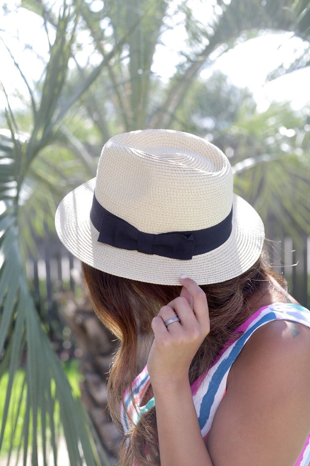 Beige Straw Fedora With Black Bow Band