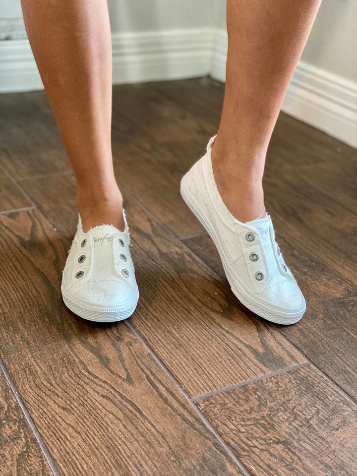 Blowfish White Smocked Slip On Sneaker