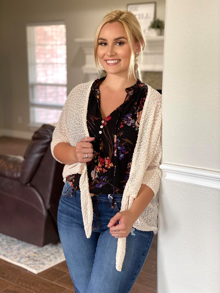 Lily Oatmeal Front tie Popcorn Cardigan