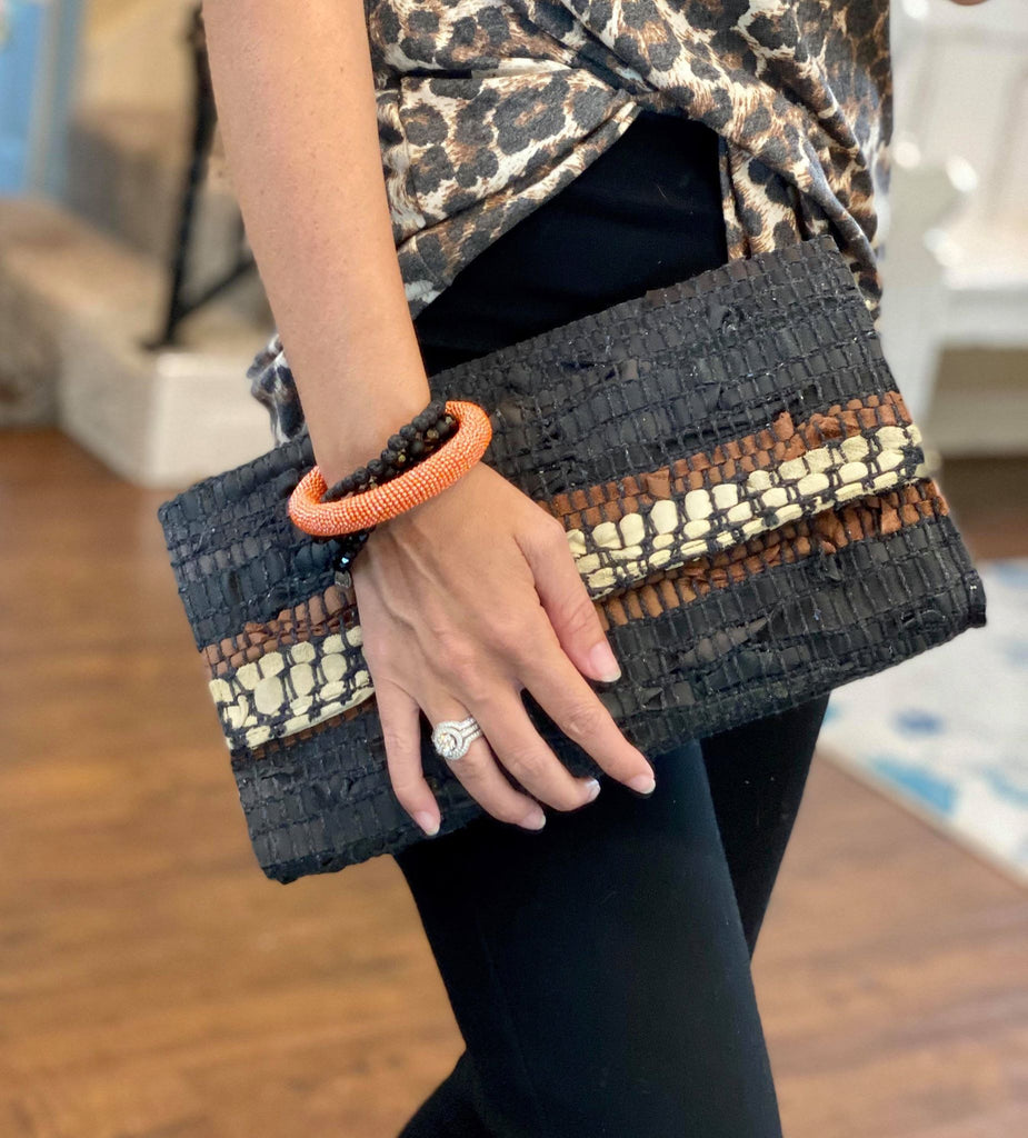 Black and Brown Woven Pattern clutch