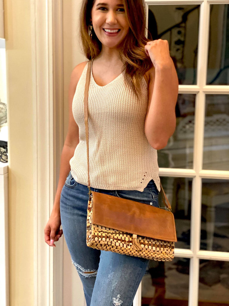 Real Leather Woven Cross Body Clutch purse - Brown