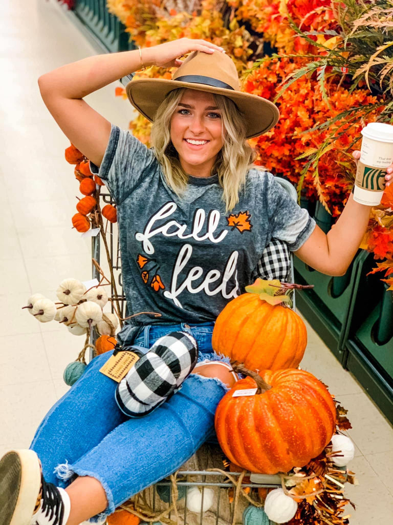 Fall Feels Charcoal Burnout Bella Canvas T-Shirt