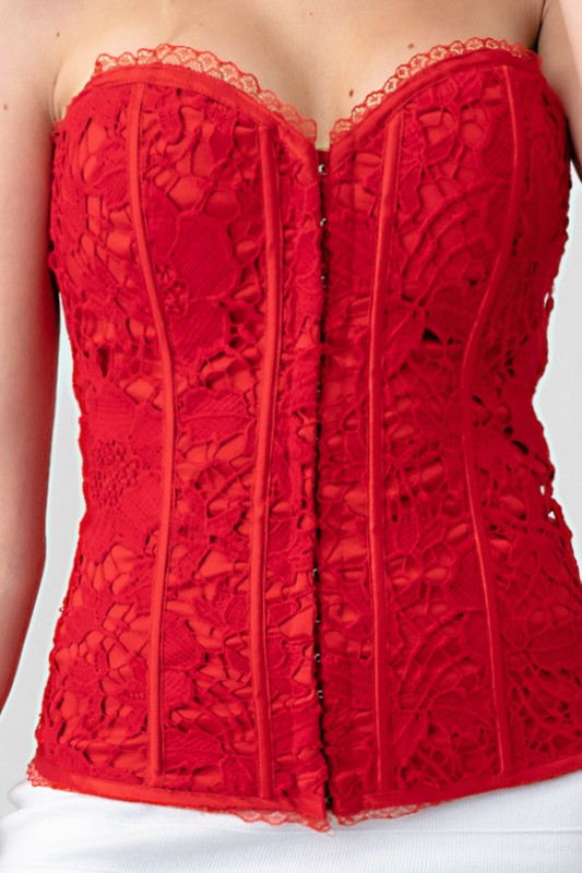 DOWN UNDER Red Lace Halter Strap Corset
