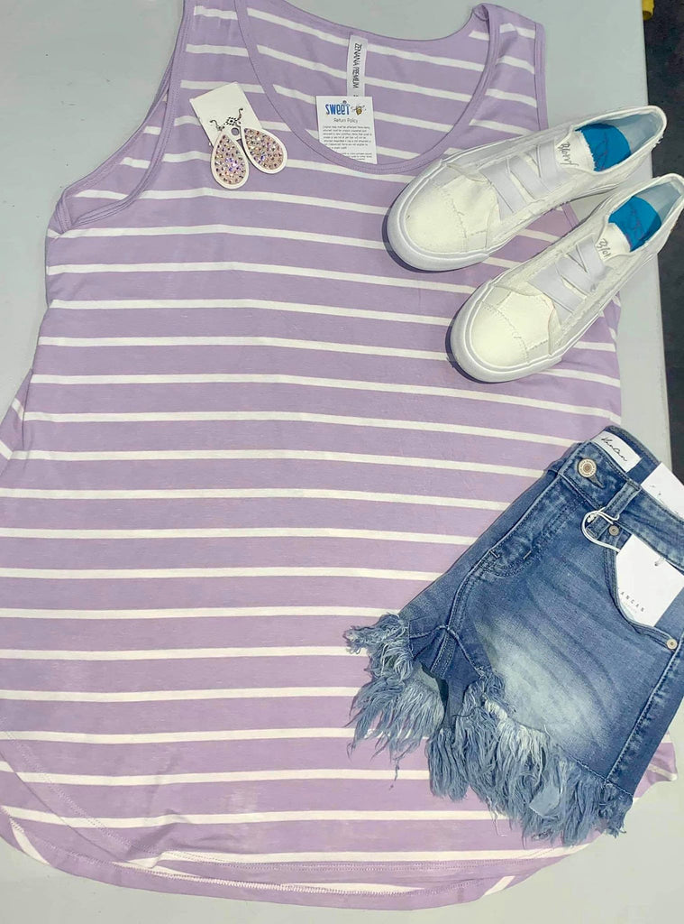 CURVY GIRL Lilac Striped Flowy Tank Top