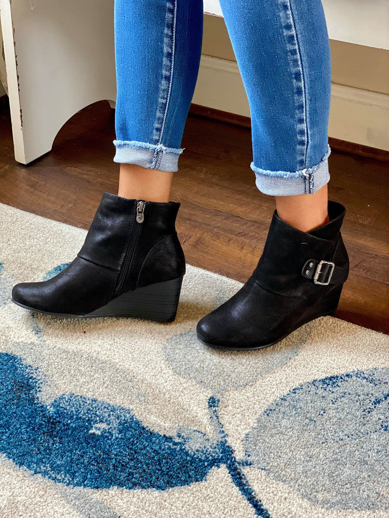Blowfish Charcoal Black Slip-on Comfort Close Toed Wedge Bootie