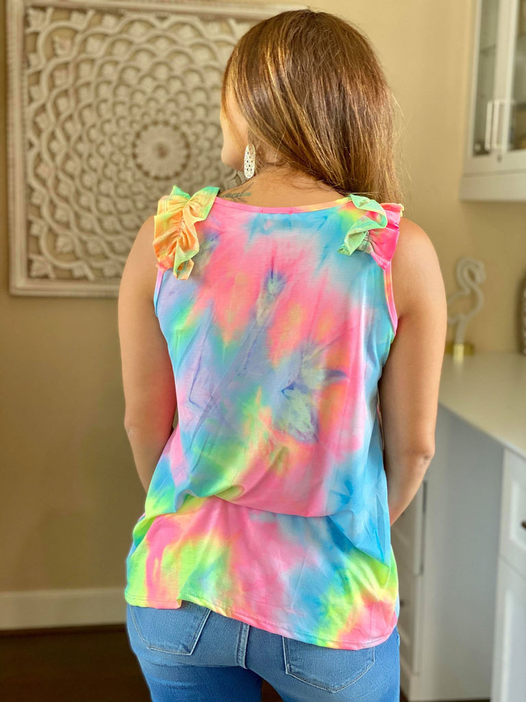 Brynlee Sleeveless Tie Dye V-Neck Top With Ruffle Detail