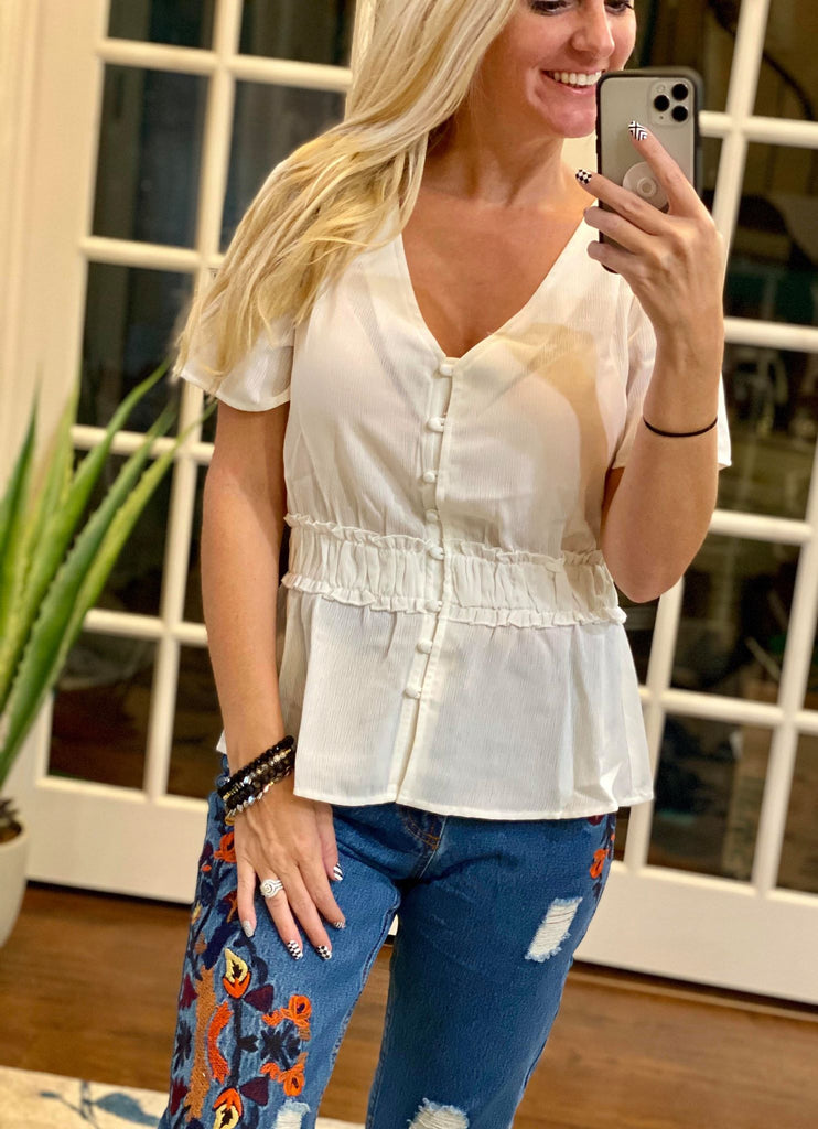 Dolly V-Neck Buttoned Short Sleeve Blouse