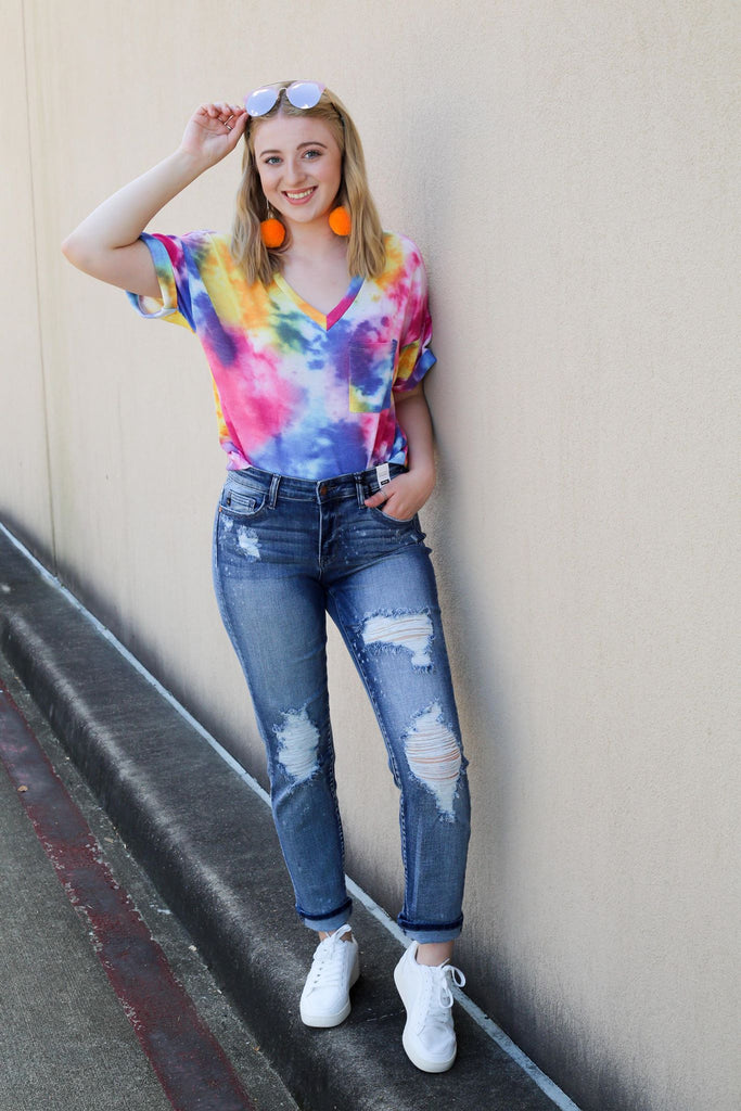 Lizzie Destroyed Bleach Splatter Cropped Judy Blue Jeans