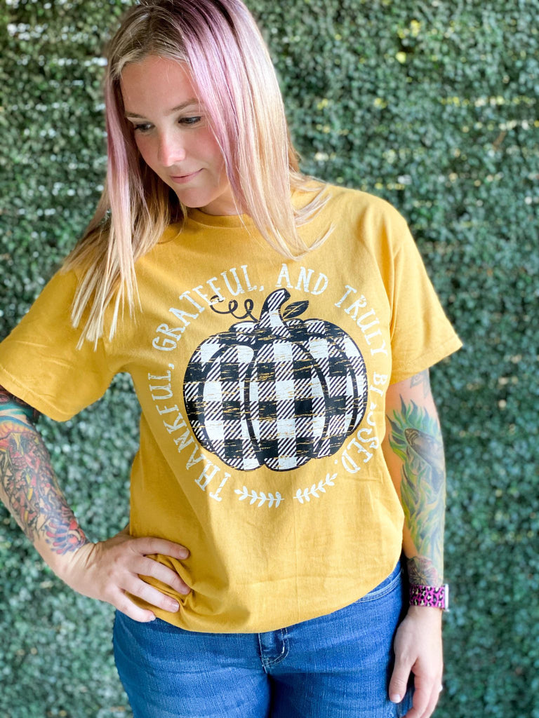 WOW WEDNESDAY - Thankful Grateful Blessed Mustard Tee