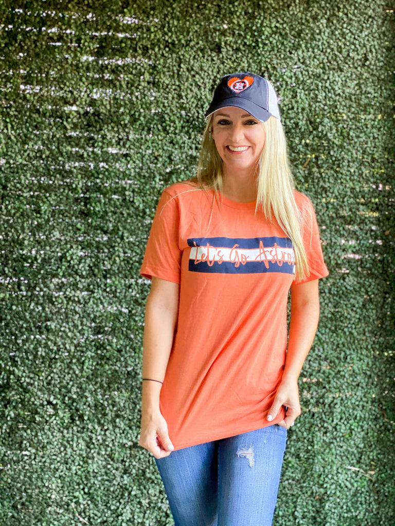 Orange Let's Go Astros Bella Canvas T-Shirt