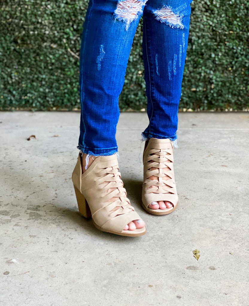 Taupe Strappy Peep Toe Bootie