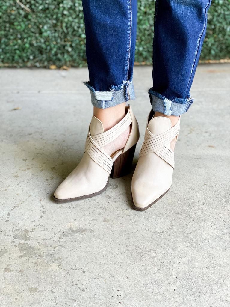 Beige Strappy Closed Toe Bootie With Dark Brown Heel