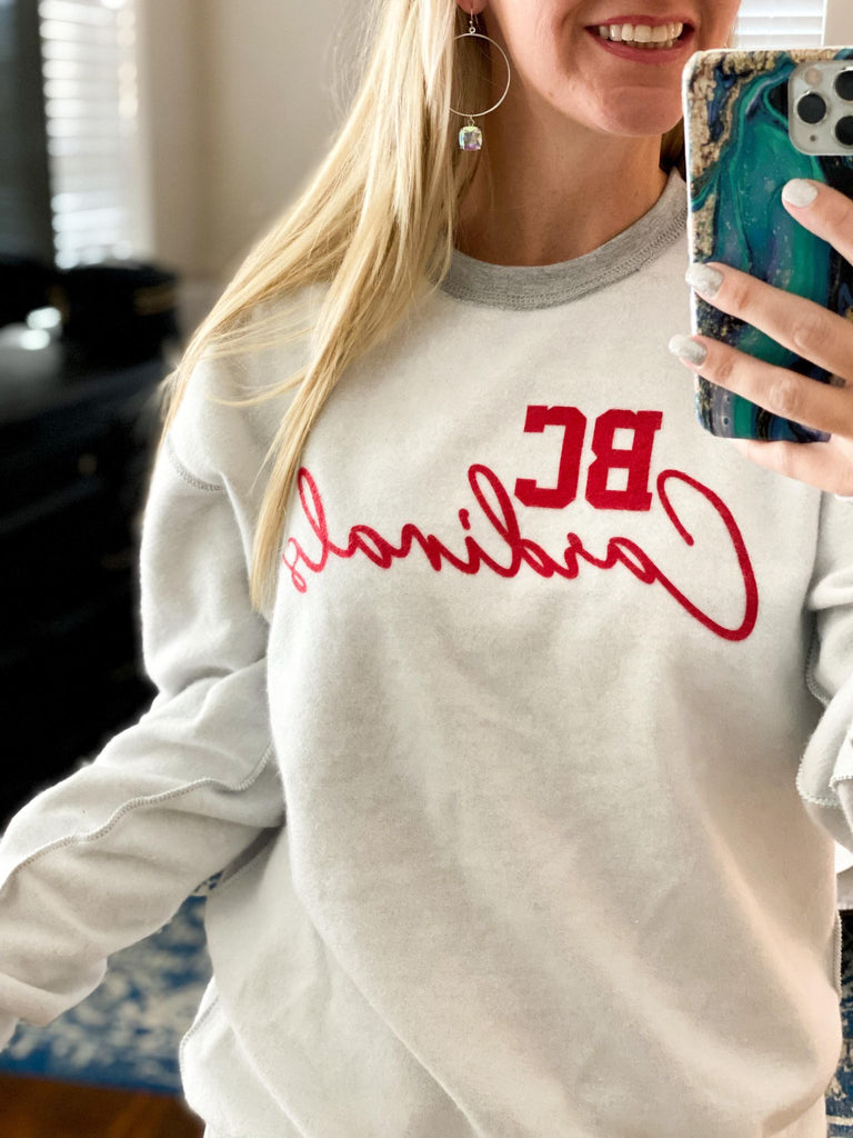 Inverted Grey Pullover Sweatshirt With Red BC Cardinals Sweater