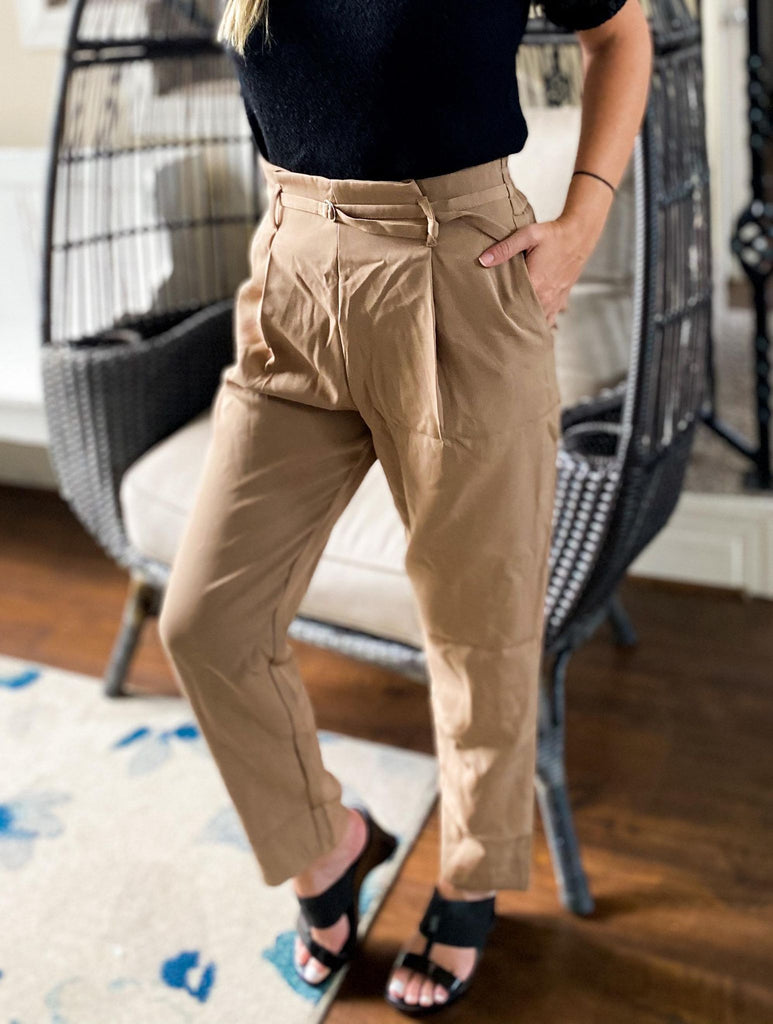 Bella Tan Tapered Pants With Elastic Waistband And Pockets