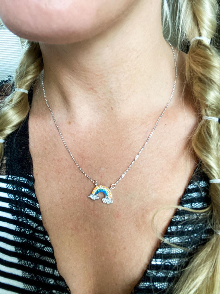 Paved Rainbow Pendant Necklace 16""