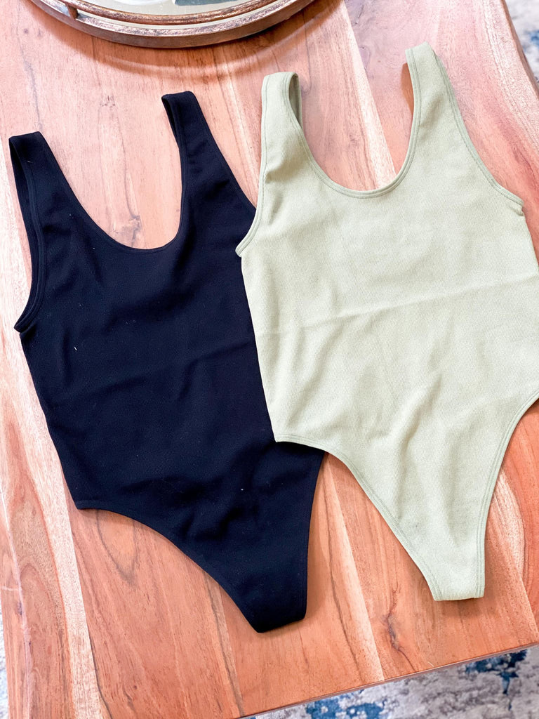 Olive or Black Stretchy Full Bodysuit Top