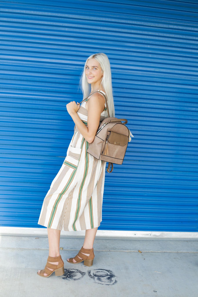 Evelyn Button Down Brown And Green Striped Combo Dress With Open Tie Back