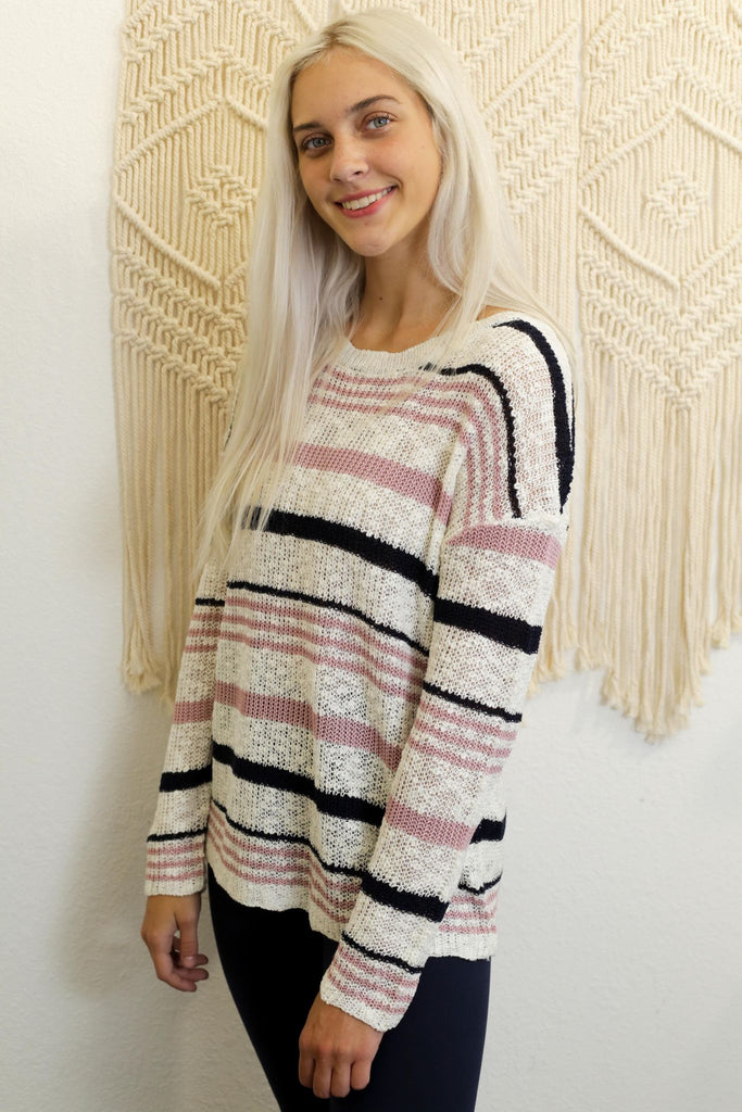 Louisa Striped Knitted Long Sleeve Sweater
