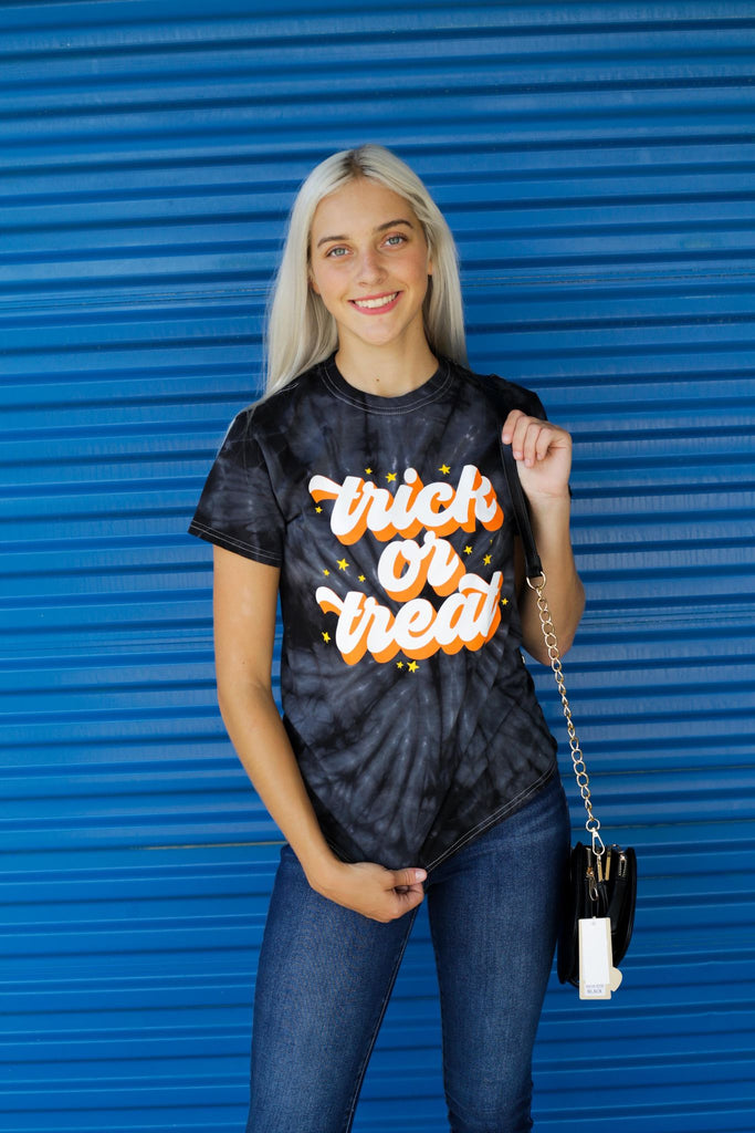 Black Tie Dye Trick Or Treat Colortone Short Sleeve T-Shirt