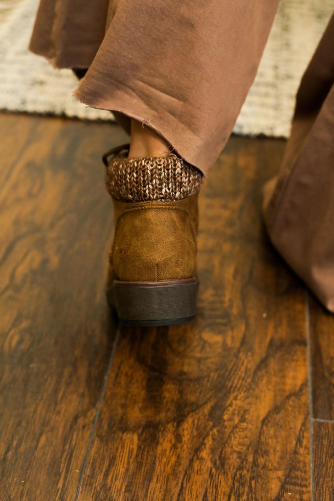 Blowfish Brown Lace Up Bootie With Soft Knit Cuff